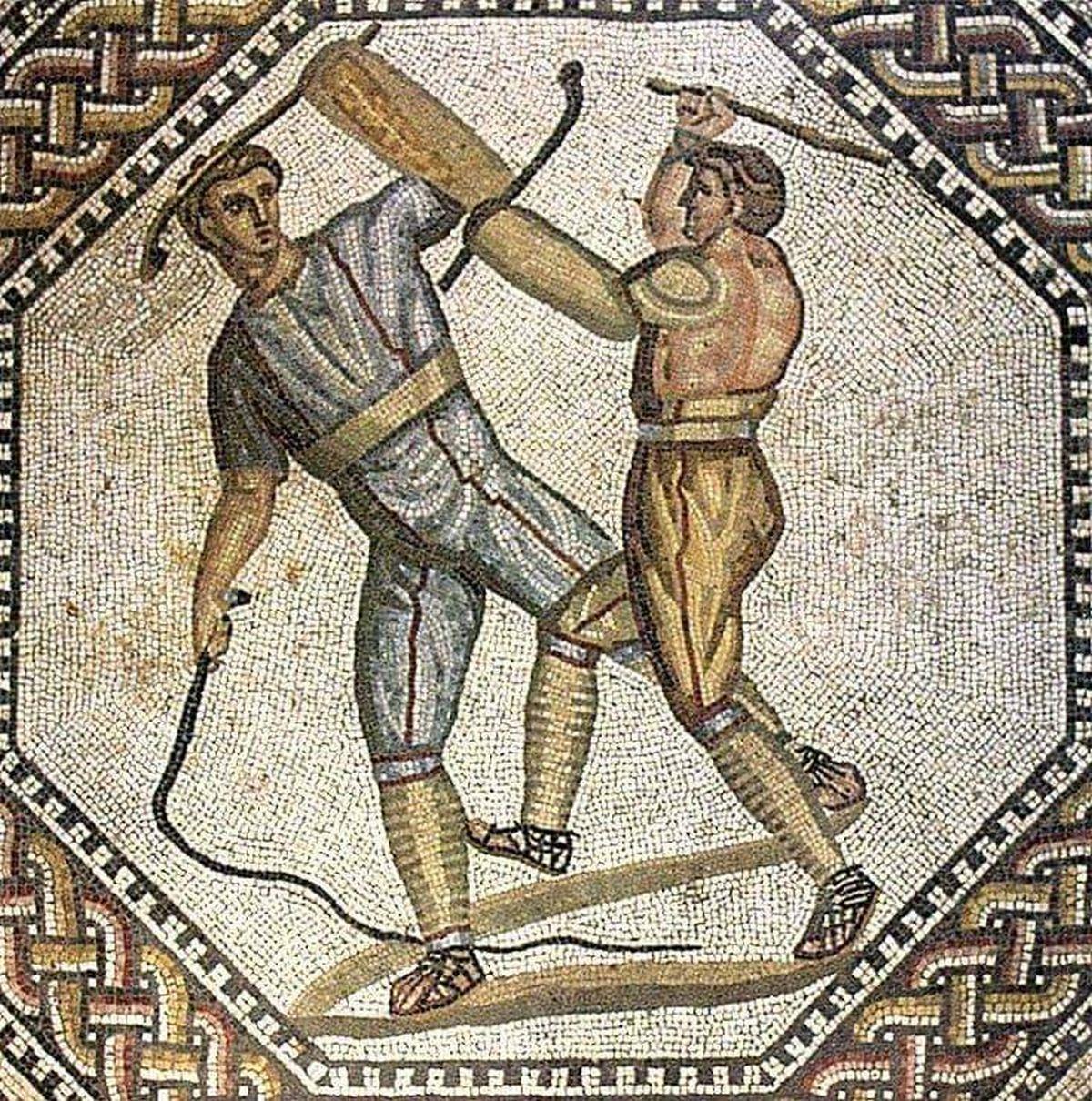 Rzymska mozaika ukazująca walkę gladiatorów