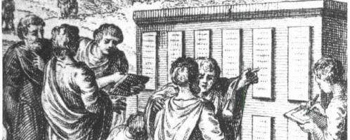 A print showing Roman citizens at the Twelve Tables
