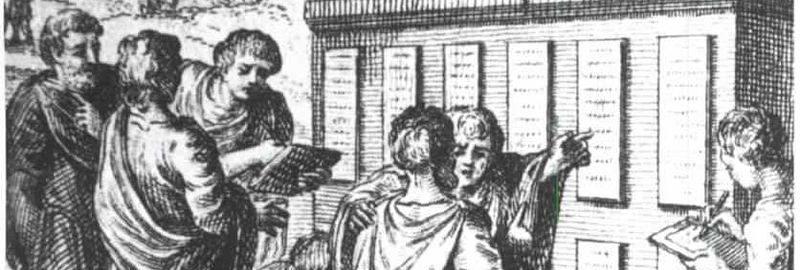 Rycina ukazująca rzymskich obywateli przy Dwunastu Tablicach