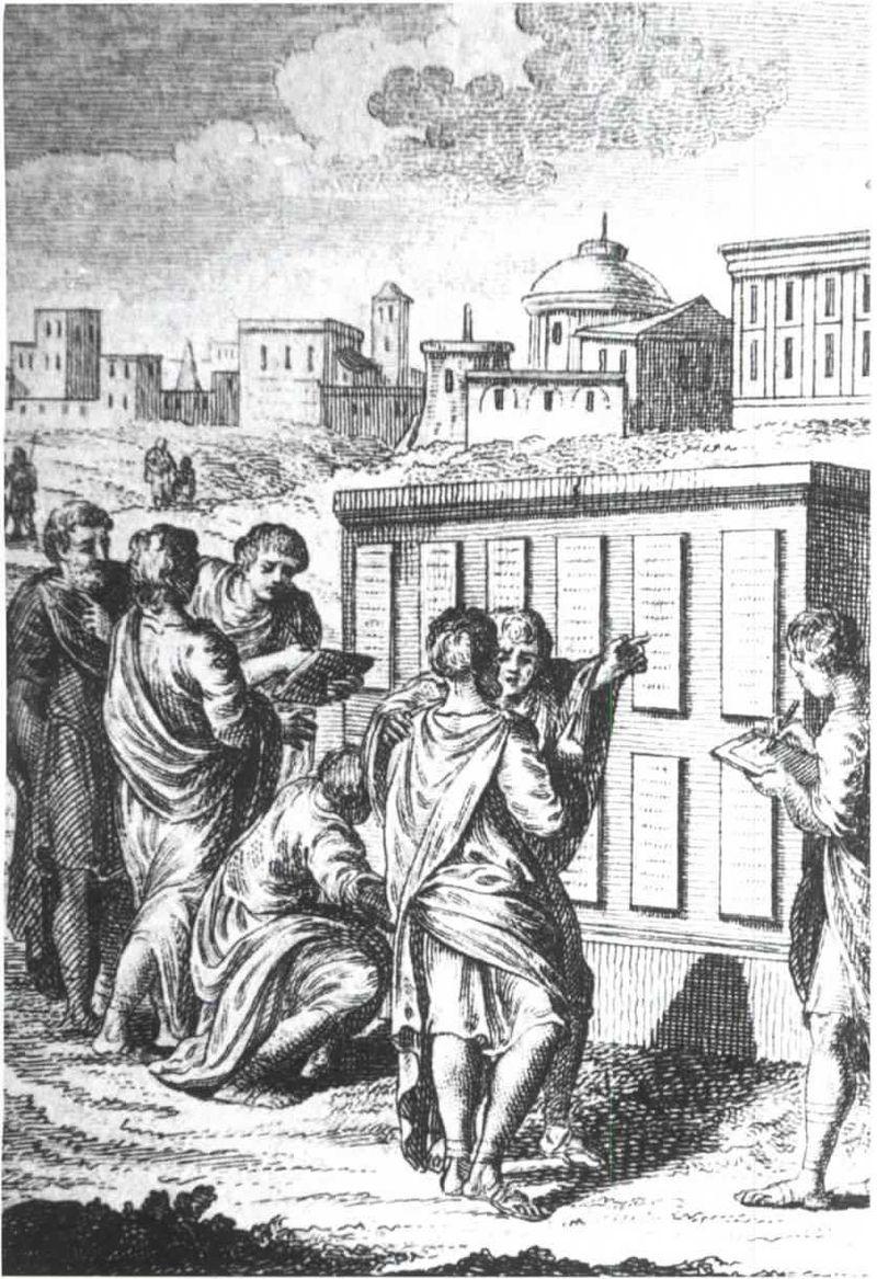 An engraving showing Roman citizens next toTwelve Tablets