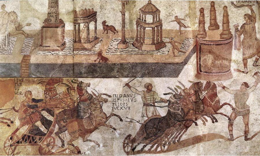 Wyścig rydwanów na mozaice rzymskiej