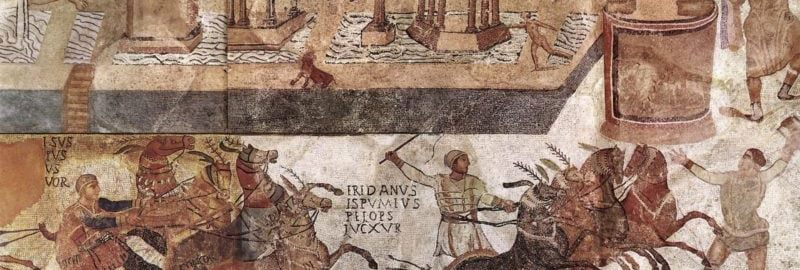A chariot race on the Roman mosaic