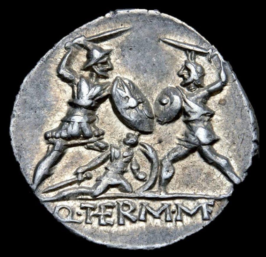 Roman denarius with heroic scene