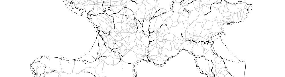Mapa ukazująca szlaki komunikacyjne w zachodniej części Cesarstwa Rzymskiego