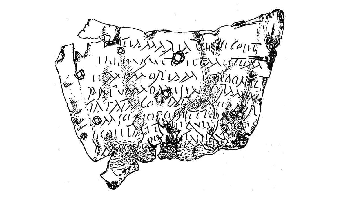 Odtworzony zapis na rzymskiej tabliczce z klątwą