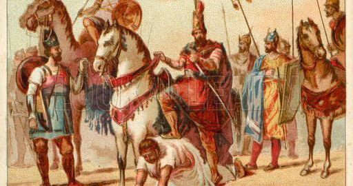 Perski król Szapur I używający byłego cesarza Waleriana jako podnóżek podczas wsiadania na konia