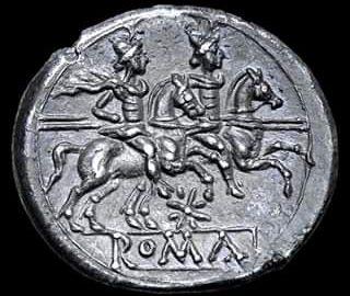 Rzymska moneta ukazująca Dioskurów