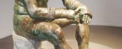 Ancient sculpture of a boxer