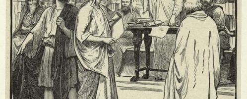 Court scene in old Rome expulsion of the Sophists, 1899, by Paget, Henry Marriott
