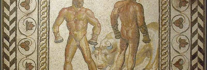 A mosaic showing a boxing duel