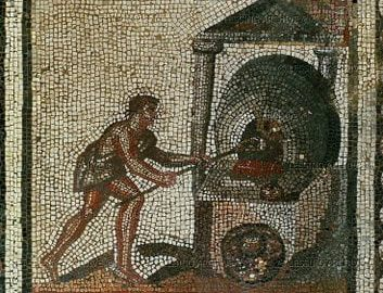 Mosaic showing the baking of bread