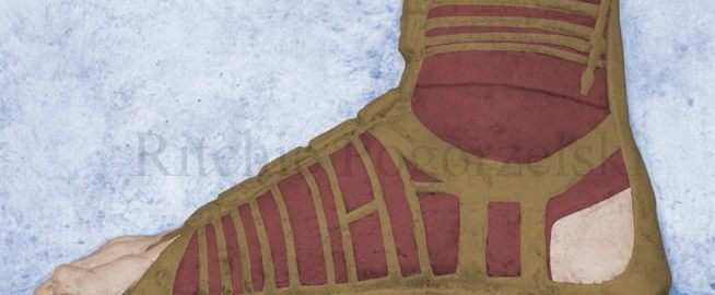 Reconstruction of the Roman relief showing a sandal with a sock