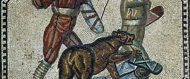 Fighting a wild animal on a mosaic
