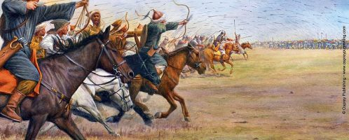 Attila personally leads the Huns to the Alans in the Battle of the  Catalaunian Plains