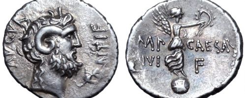 August's coin, minted after the Battle of Actium
