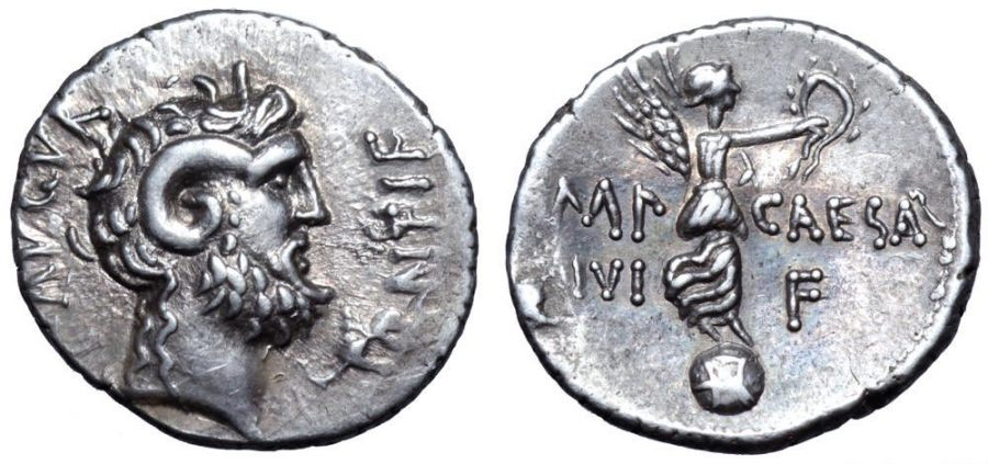 Moneta Augusta wybita po bitwie pod Akcjum