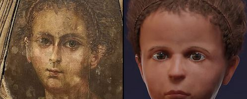 Reconstruction of the face of an Egyptian boy from Roman times