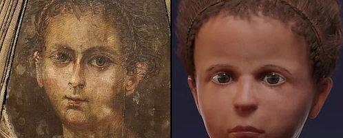 Rekonstrukcja twarzy egipskiego chłopca z czasów rzymskich