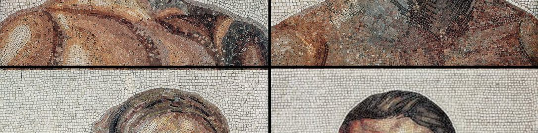 The faces of the athletes from the Roman mosaic