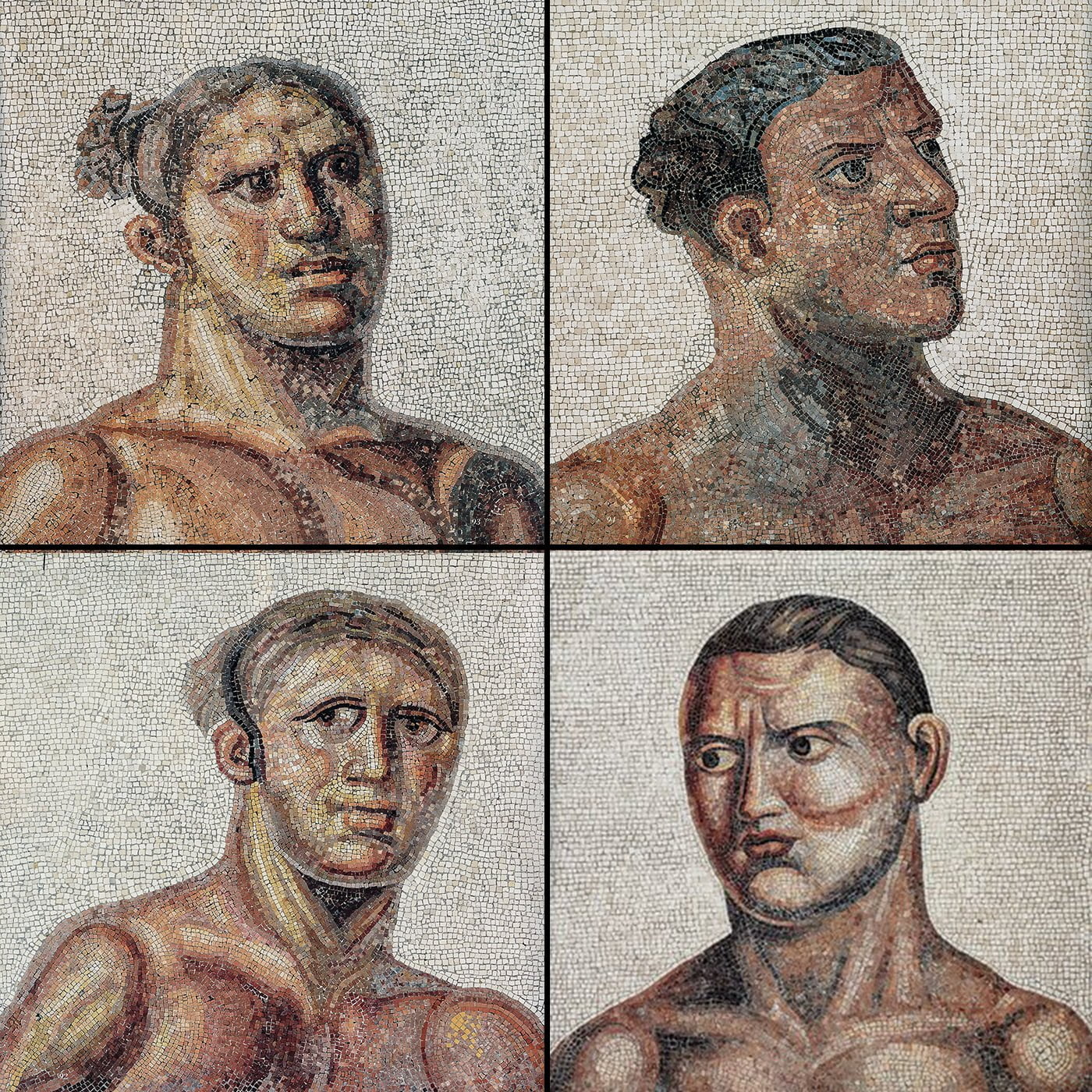 Twarze atletów z mozaiki rzymskiej