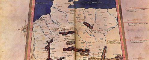 XV-wieczna kopia mapy Germanii wg wyobrażenia Rzymian z II w. n.e., autorem mapy starożytnej był Klaudiusz Ptolemeusz