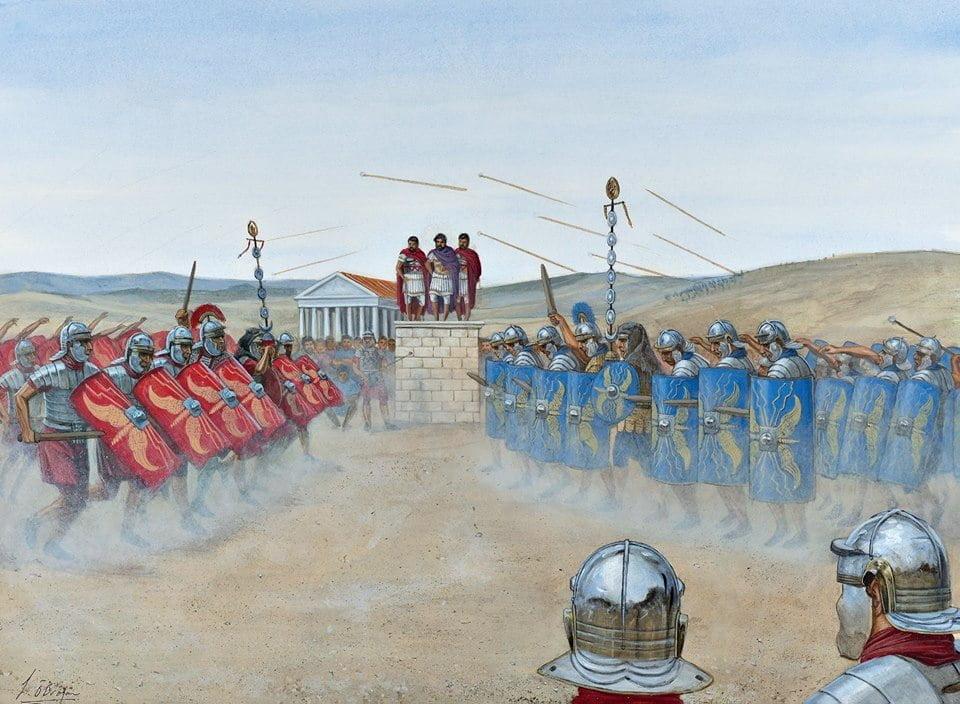 Cesarz Hadrian nadzorujący trening legionu III Augusta w Lambaesis (Algieria) w 128 roku n.e.