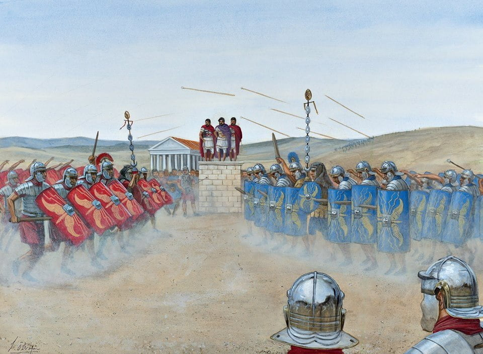 Emperor Hadrian overseeing the training of the 3rd August legion in Lambaesis (Algeria) in 128 CE
