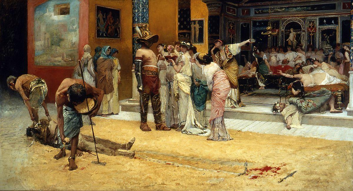 Francesco Netti, Gladiator Fight During Meal At Pompeii