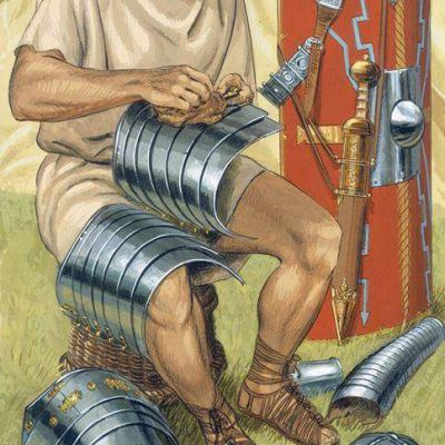 Early 2nd century CE legionary cleaning armor