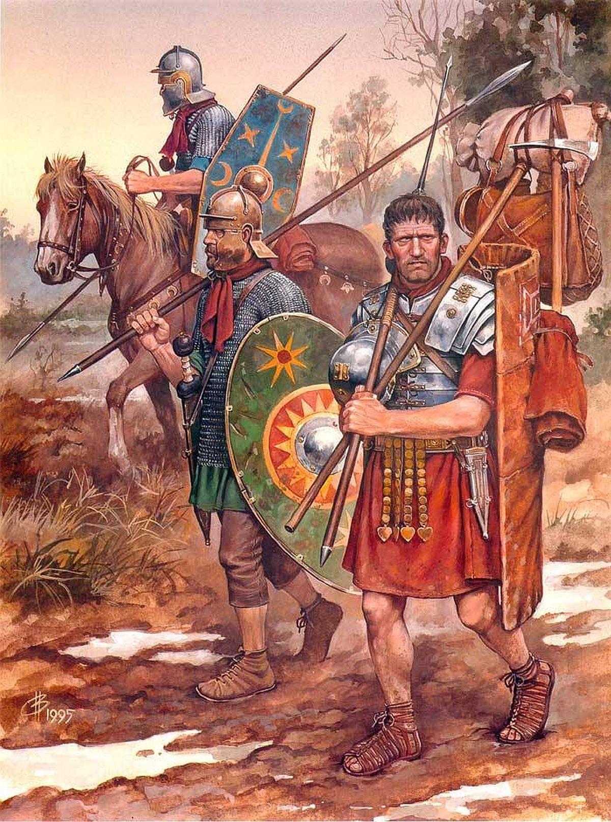 Rzymscy żołnierze w trakcie marszu