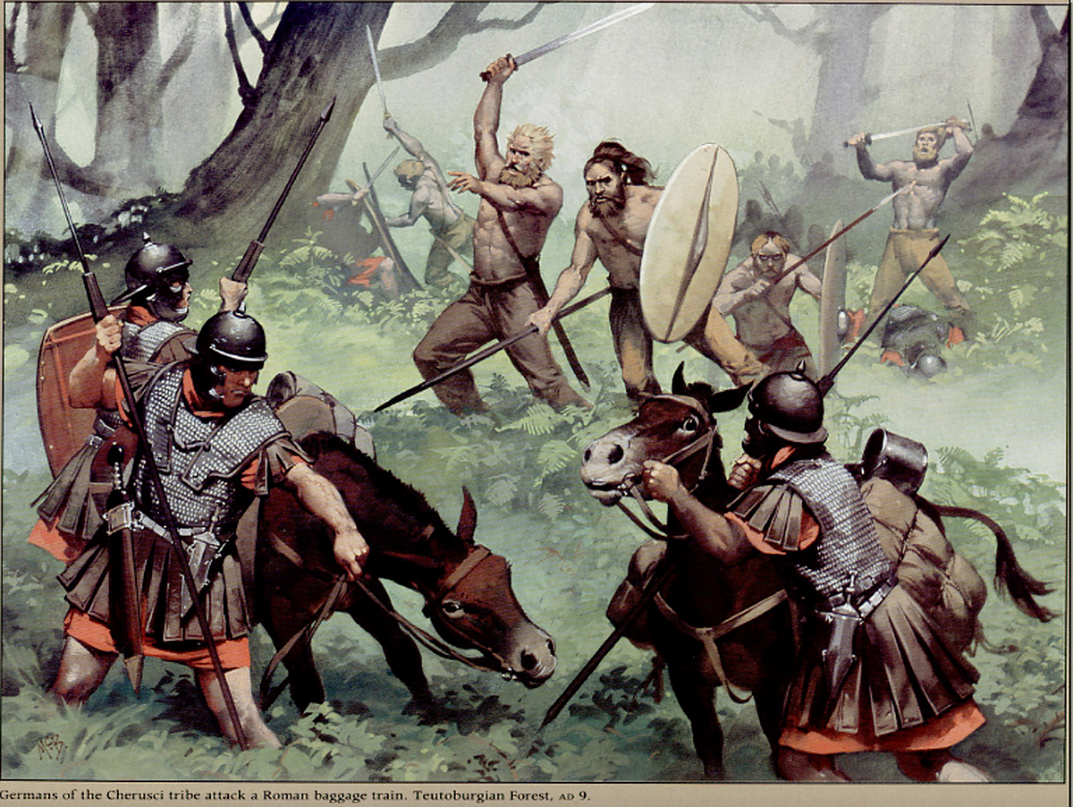 Cherusci attacks on the Romans in the Teutoburg Forest