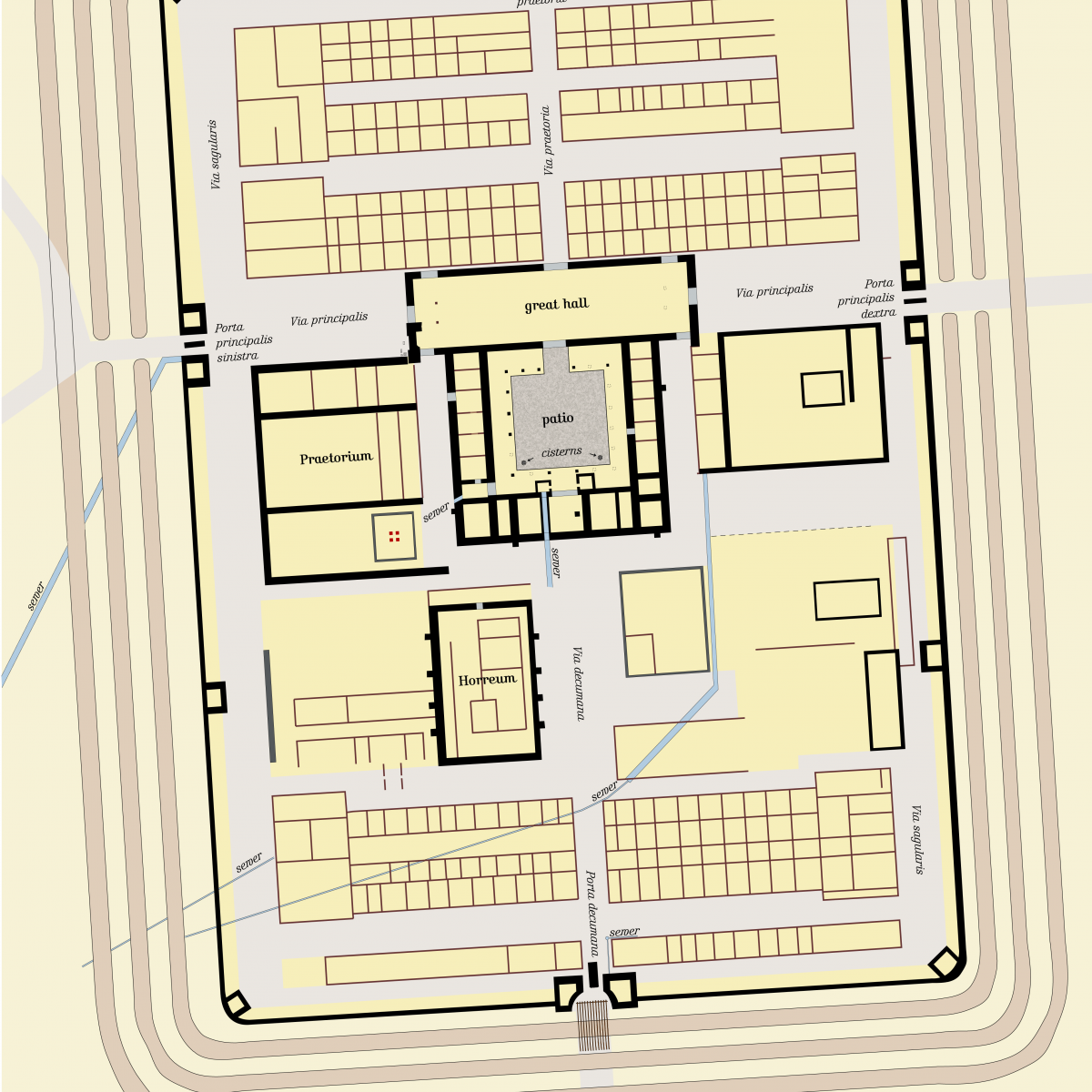 Detailed plan of the Iciniacum Roman camp in southern Germany
