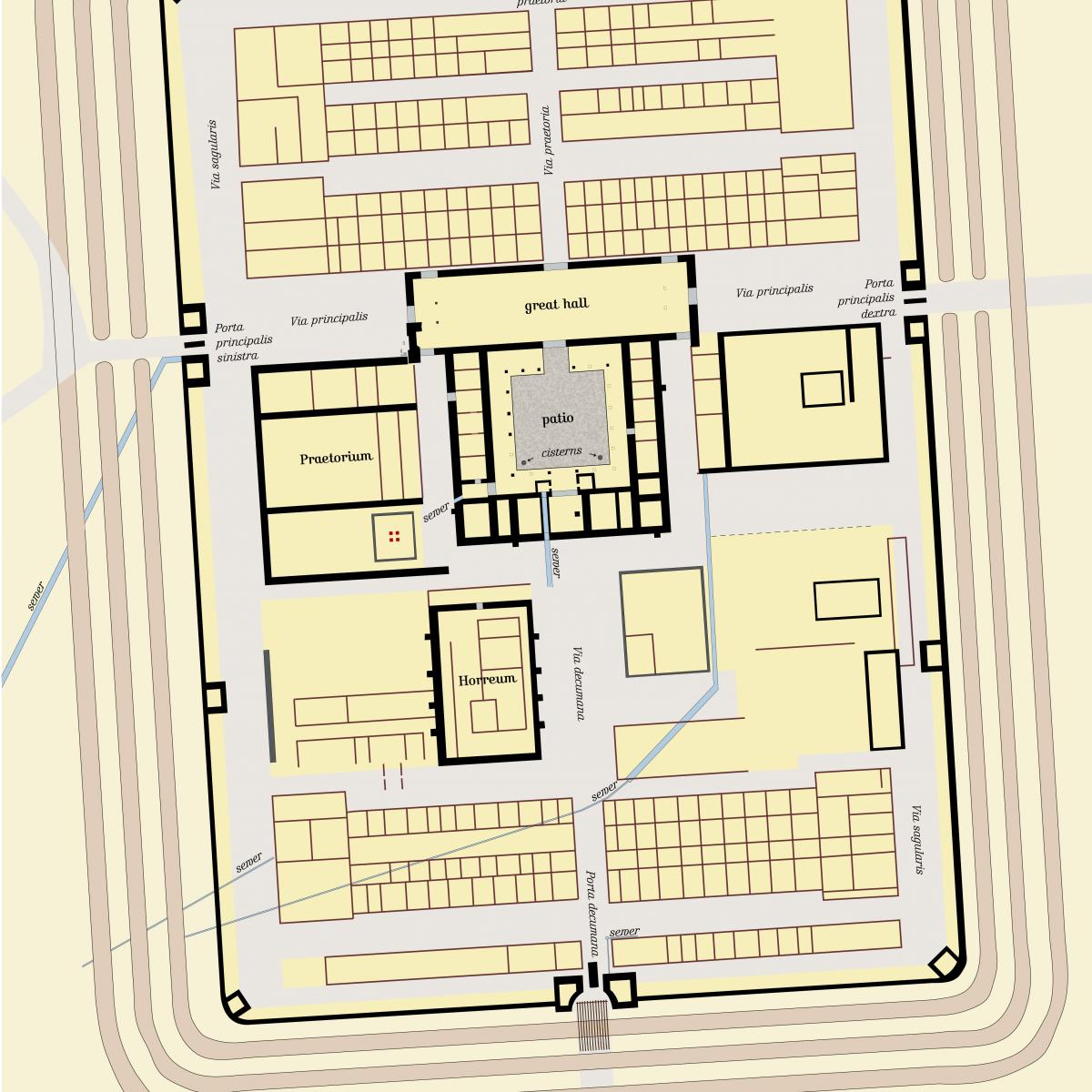 Dokładny plan obozu rzymskiego Iciniacum w południowych Niemczech