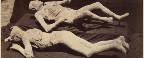 Photograph of casts of bodies from Pompeii