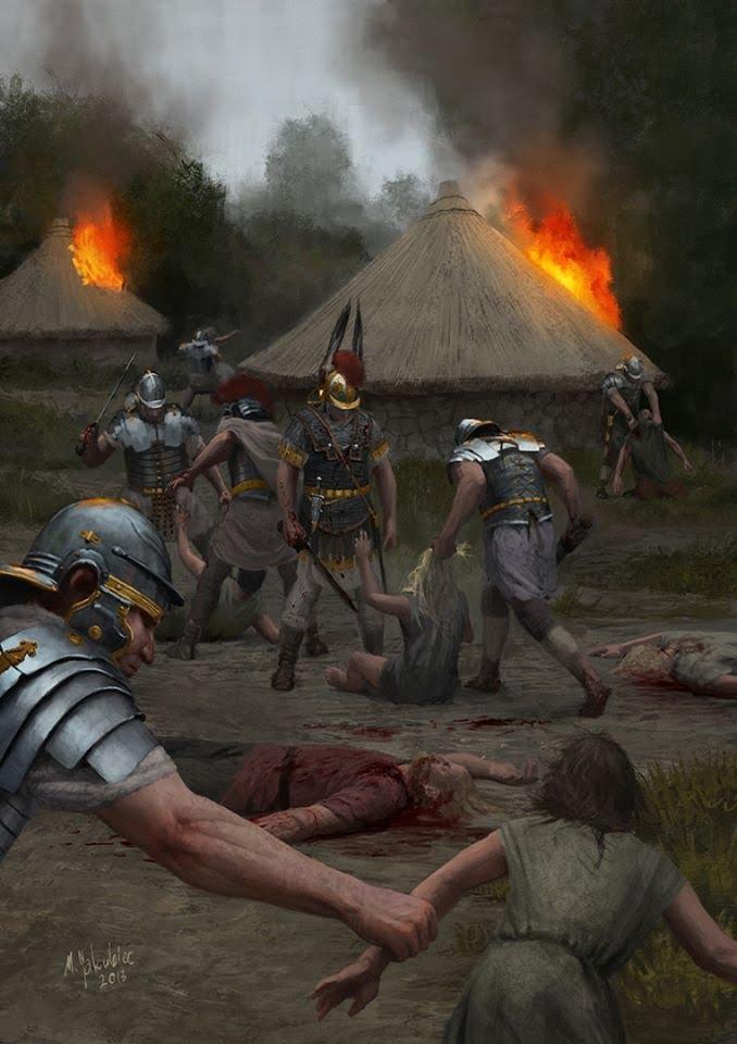 Grafika ukazująca plądrowanie wioski. Ilustracja z Ancient Warfare magazine