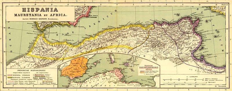 Mapa lokalizująca Getulię na południe od rzymskich prowincji Mauretanii i Numidii