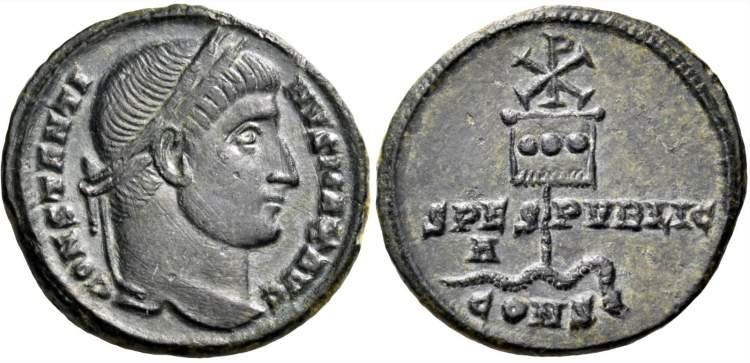 Moneta Konstantyna Wielkiego z widocznym na rewersie labarum