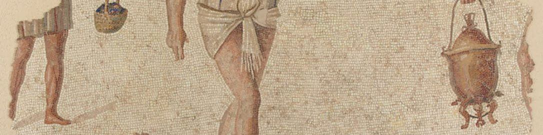 Roman mosaic showing preparations for feast