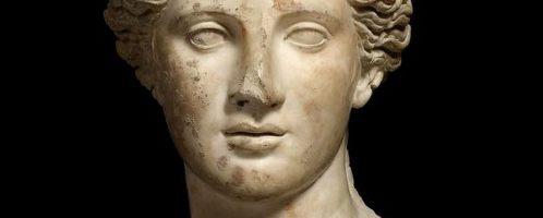 Beautiful head of Roman goddess