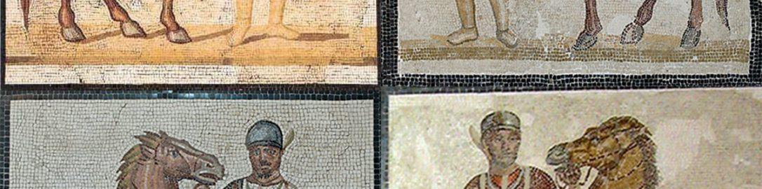 Rzymskie mozaiki z woźnicami z każdej drużyny