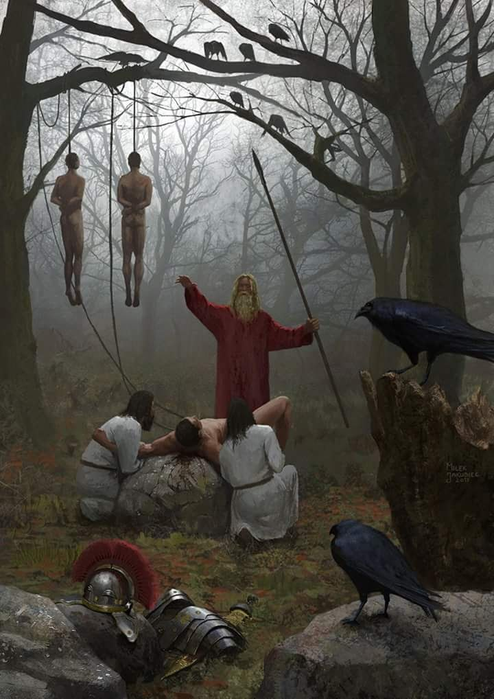 Captured legionaries sacrificed after the battle in Teutoburg Forest