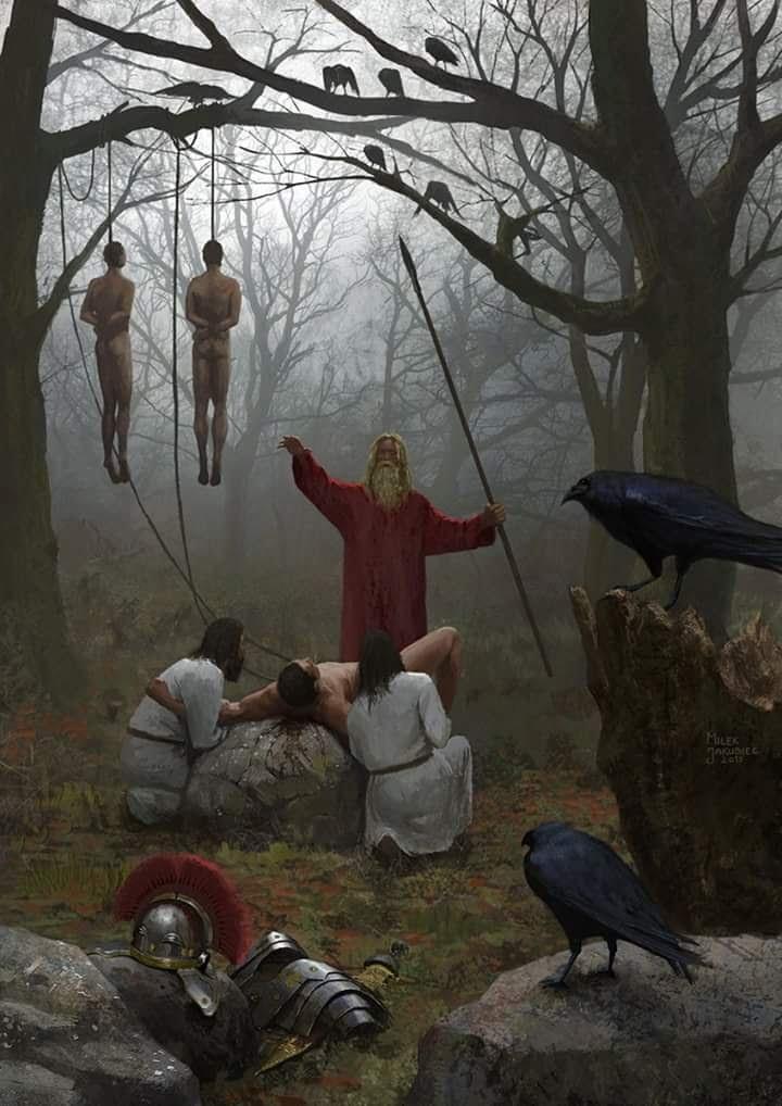 Schwytani legioniści składani w ofirze po bitwie w lesie Teutoburskim
