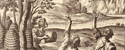 Ilustracja łapania roju z The Georgics of Virgil, angielskiego tłumaczenia poematu autorstwa Johna Drydena z roku 1697