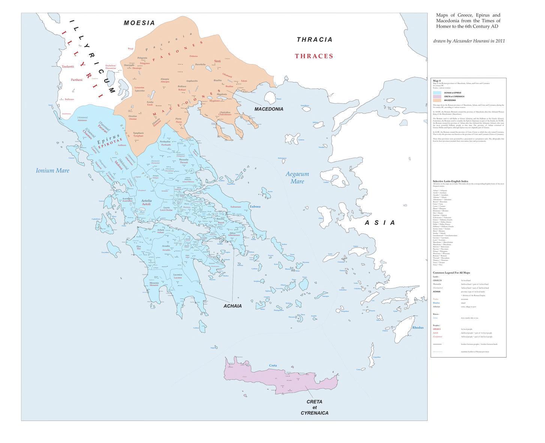 Mapa polityczna Grecji właściwej i Macedonii od 27 r. p.n.e. do 67 r. n.e.