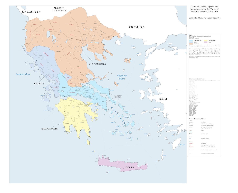 Mapa polityczna Grecji właściwej i Macedonii w latach 67 do ok. 72 r. n.e.