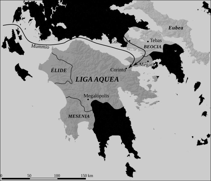 Mapa polityczna Związku Achajskiego w 146 r. p.n.e.