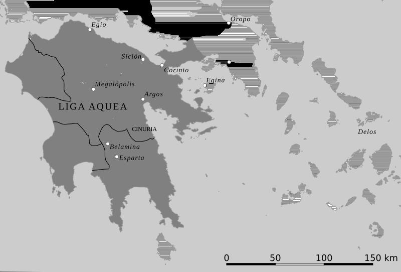 Mapa polityczna Związku Achajskiego w 150 r. p.n.e.