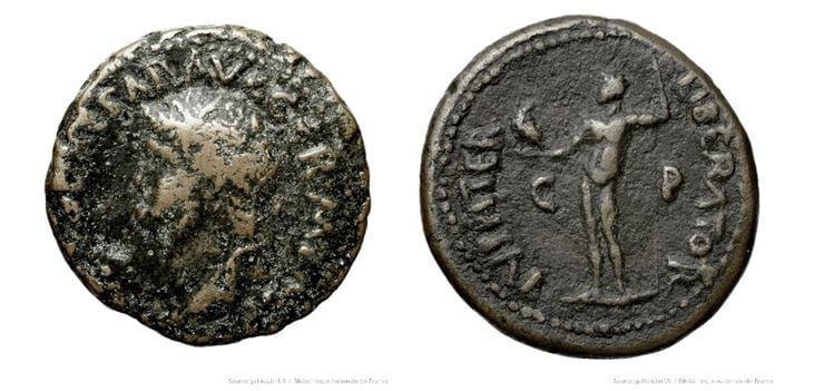 Moneta wyemitowana przez rzymską kolonię w <em>polis</em> Patras upamiętniająca przyznanie w 67 r. n.e. przez cesarza Nerona wolności greckim poleis