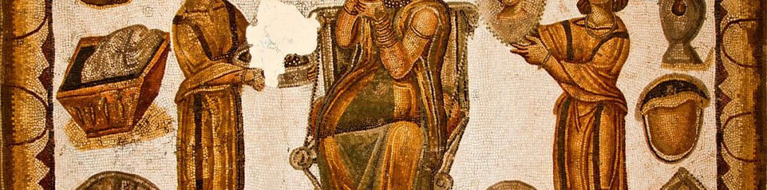 Roman mosaic showing woman during morning restroom