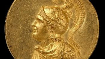 Alexander the Great on Roman medallion